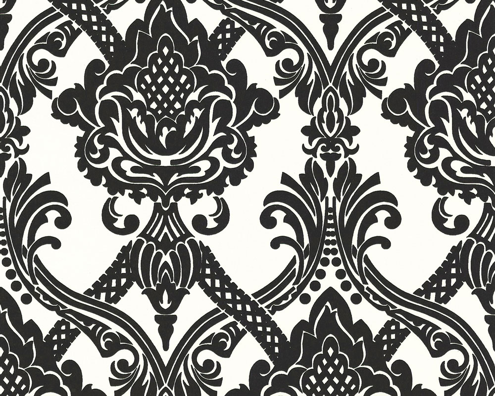 Rasch Tapeten Alte Kollektion : Black and White Scroll Wallpaper